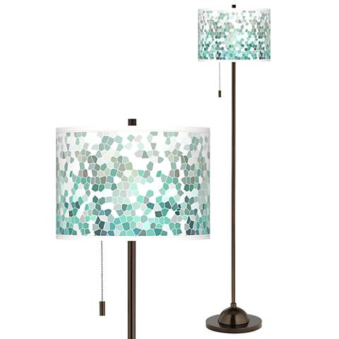 Aqua Mosaic Giclee Glow Bronze Club Floor Lamp