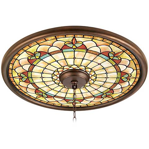 """Tiffany Tracery 24"""" Wide Bronze Finish Ceiling Medallion"""