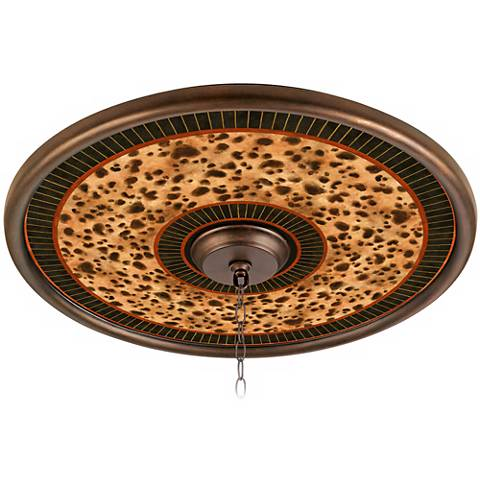 """Cheetah with Trim 24"""" Wide Bronze Finish Ceiling Medallion"""