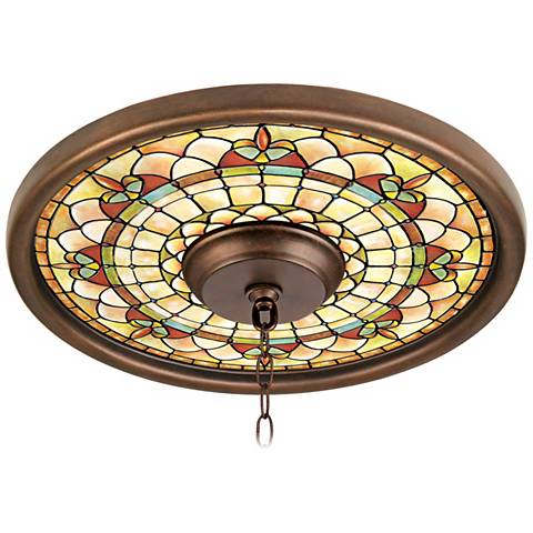 "Tiffany Tracery 16"" Wide Bronze Finish Ceiling Medallion"