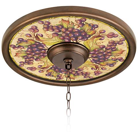 """Tuscan Grapes 16"""" Wide Bronze Finish Ceiling Medallion"""