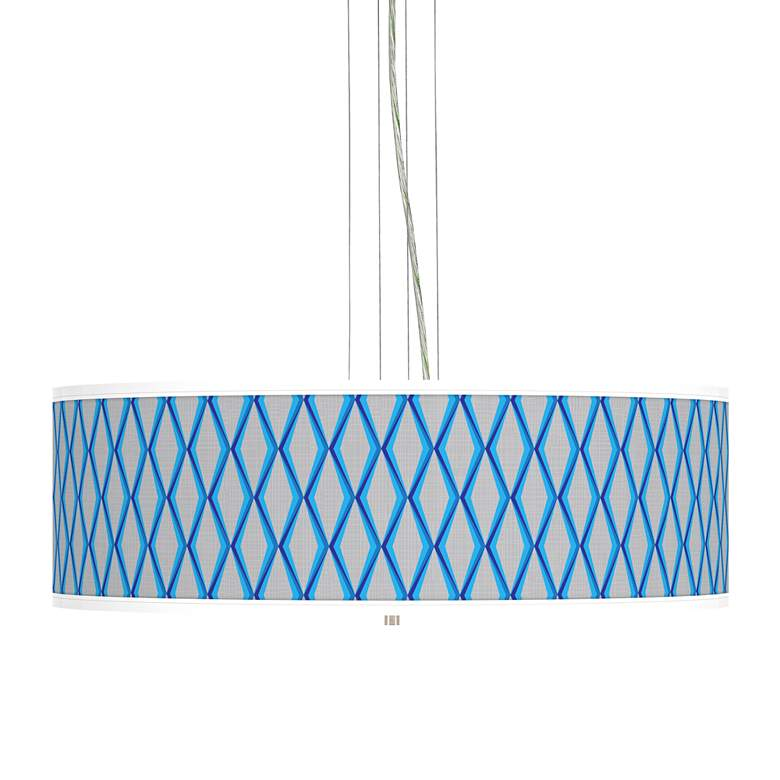 "Bleu Matrix Giclee 24"" Wide 4-Light Pendant Chandelier"
