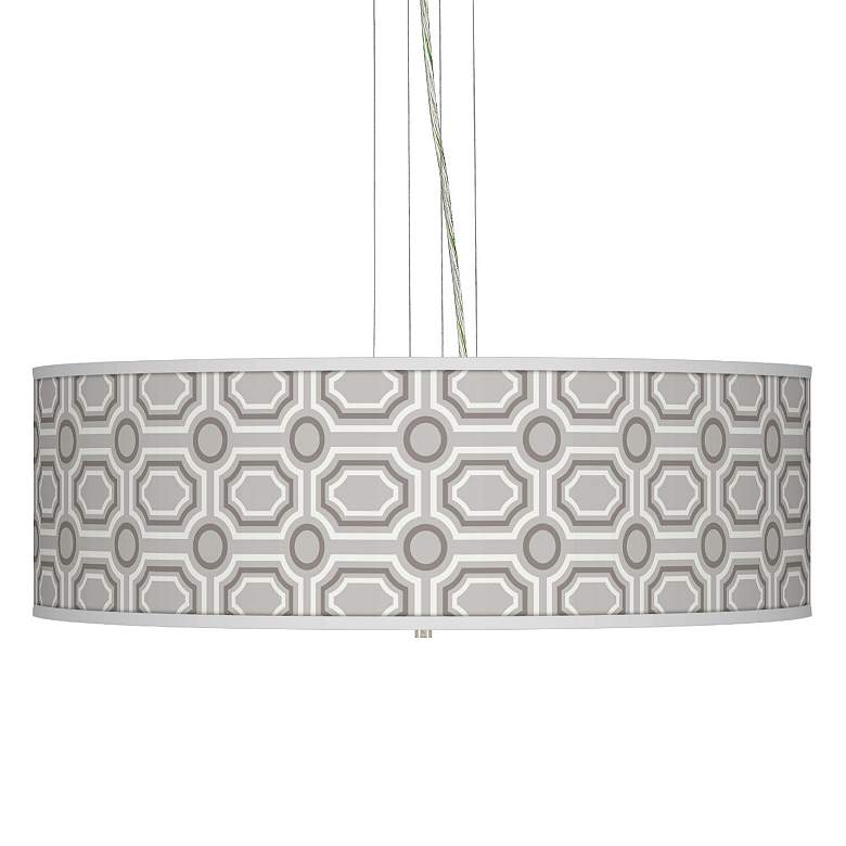 """Luxe Tile Giclee 24"""" Wide Four Light Pendant Chandelier"""