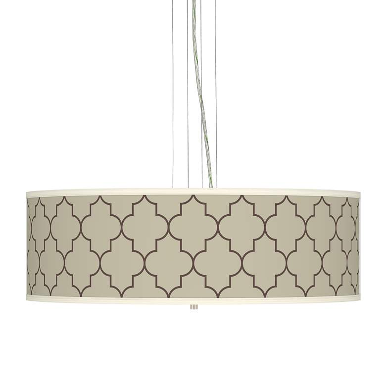 "Tangier Taupe Giclee 24""W Four Light Pendant Chandelier"