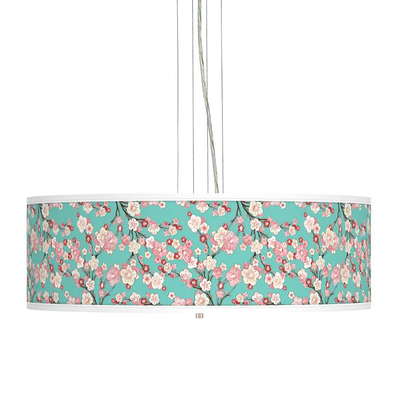 """Cherry Blossoms Giclee 24"""" Wide 4-Light Pendant Chandelier"""