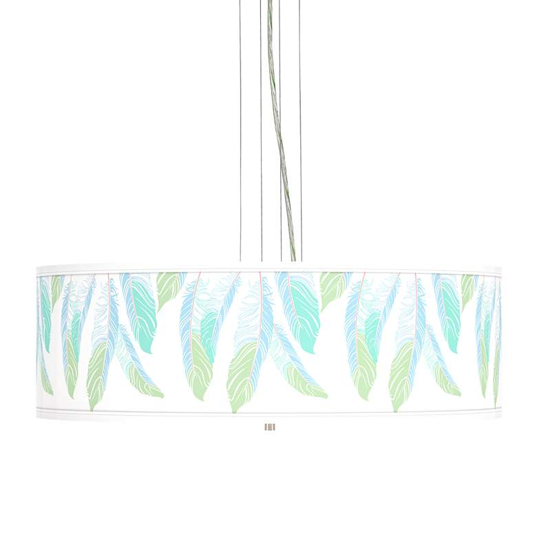 """Light as a Feather Giclee 24""""W 4-Light Pendant Chandelier"""