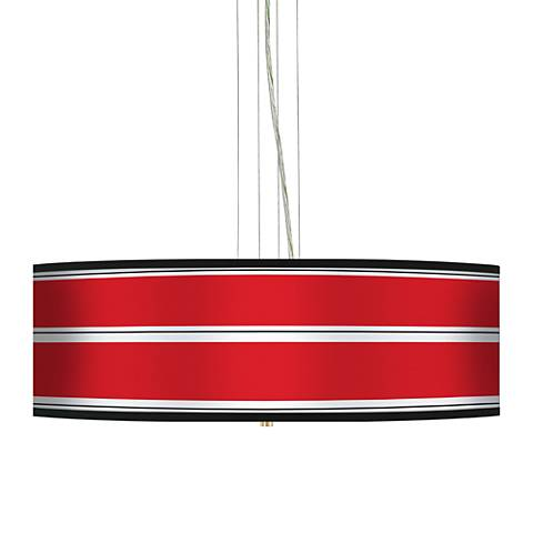 "Red Stripes 24"" Wide 4-Light Pendant Chandelier"