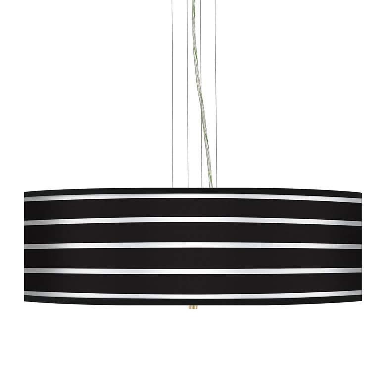 """Bold Black Stripe 24"""" Wide 4-Light Pendant Chandelier"""