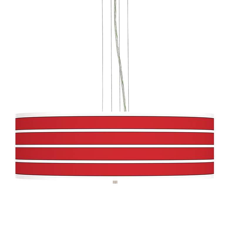 """Bold Red Stripe 24"""" Wide 4-Light Pendant Chandelier"""