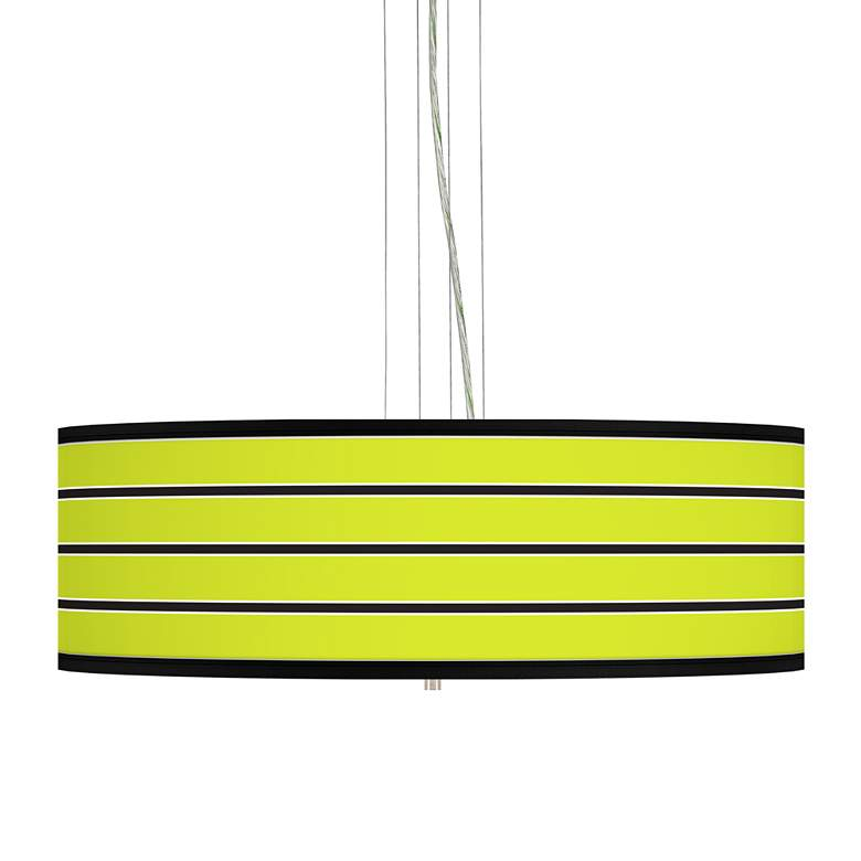 "Bold Lime Green Stripe 24"" Wide 4-Light Pendant"