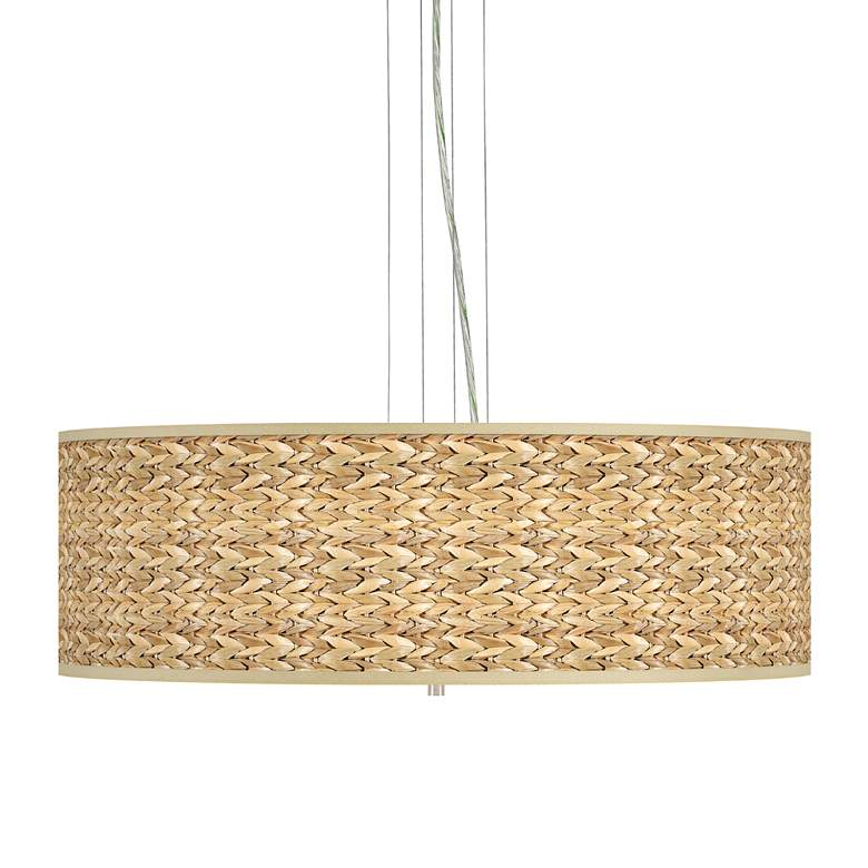 """Seagrass Print Pattern Shade 24"""" Wide Pendant Chandelier"""
