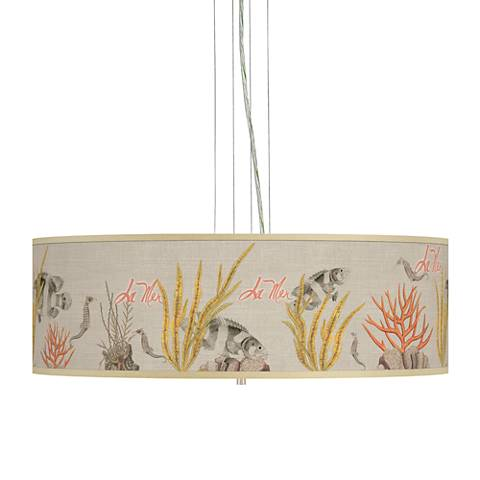 "La Mer Coral Giclee 24"" Wide 4-Light Pendant Chandelier"