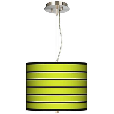 """Bold Lime Green Stripe 13 1/2"""" Wide Pendant Chandelier"""