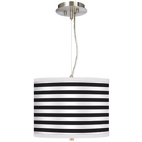 "Black Horizontal Stripe 13 1/2"" Wide Pendant Chandelier"