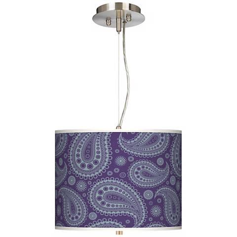 "Purple Paisley Linen Giclee 13 1/2"" Wide Pendant Chandelier"