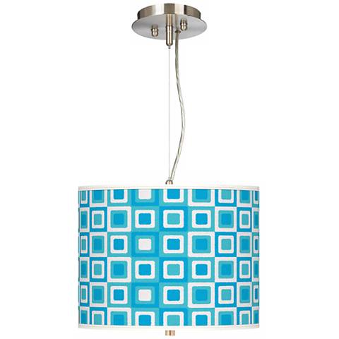 Blue Boxes Linen Giclee 2-Light Pendant Chandelier