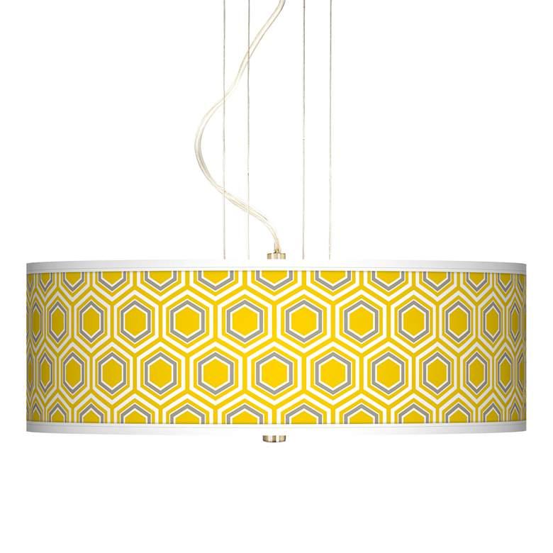 "Honeycomb Yellow 20"" Wide 3-Light Pendant Chandelier"