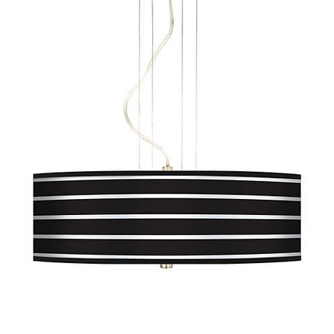 """Bold Black Stripe 20"""" Wide 3-Light Pendant Chandelier"""