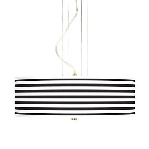 "Black Horizontal Stripe 20"" Wide 3-Light Pendant Chandelier"