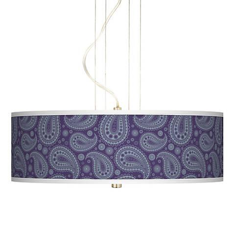 "Purple Paisley Linen Brushed Nickel 20"" Wide 3-Light Pendant"
