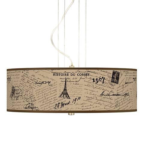 Letters to Paris Giclee 3-Light Pendant Chandelier