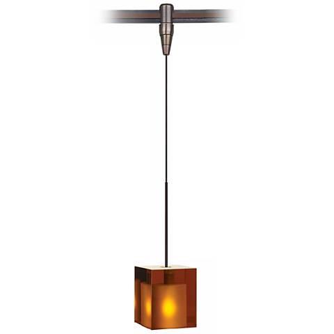 Cube Amber Glass Bronze Tech Lighting MonoPoint Pendant