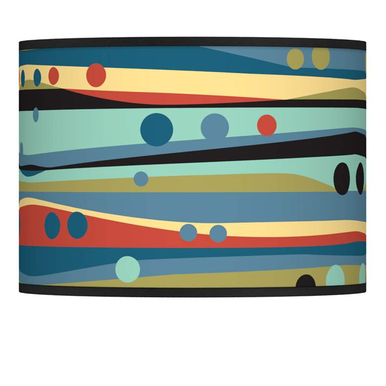 Retro Dots and Waves Giclee Glow Shade 13.5x13.5x10