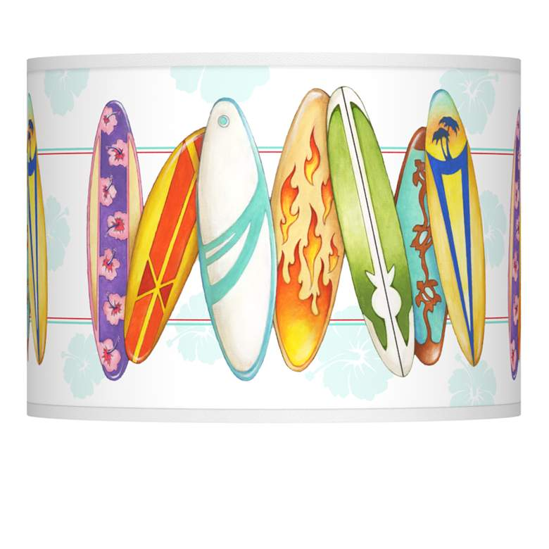 Surfboard Time Giclee Glow Lamp Shade 13.5x13.5x10 (Spider)