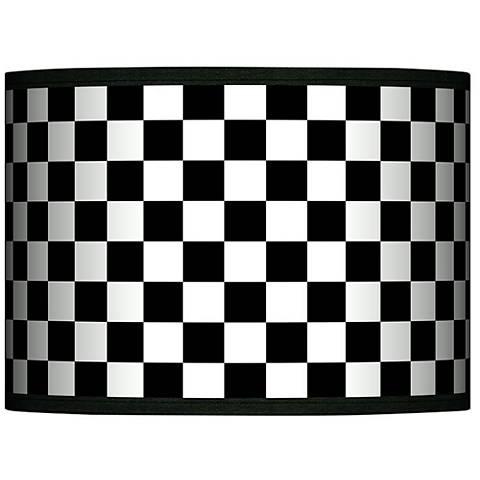 Checkered Black Giclee Glow Lamp Shade 13.5x13.5x10 (Spider)