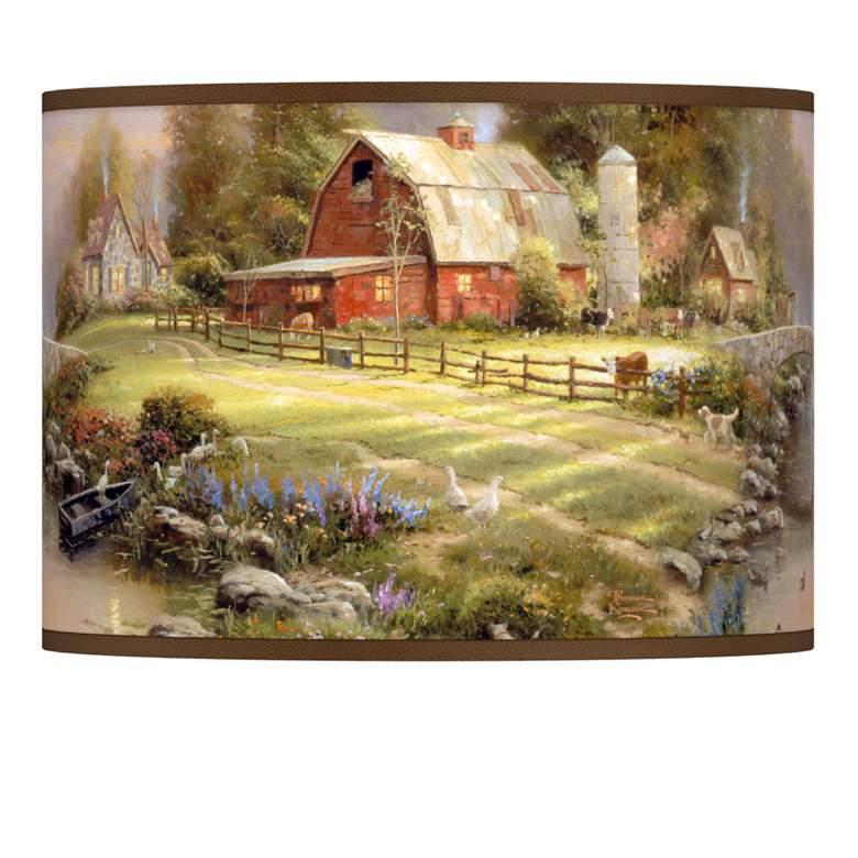 Thomas Kinkade Sunset at Riverbend Farm Shade 13.5x13.5x10