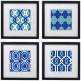 "Set of 4 Azure Tiles 14"" Square Black Framed Wall Art"