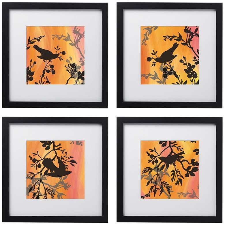 "Sunset Sparrow 4-Piece 14"" Square Black Framed Wall Art Set"