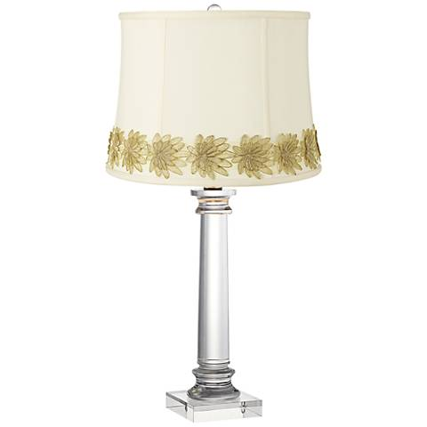 Classic Creme Crystal Column Table Lamp with Flower Trim