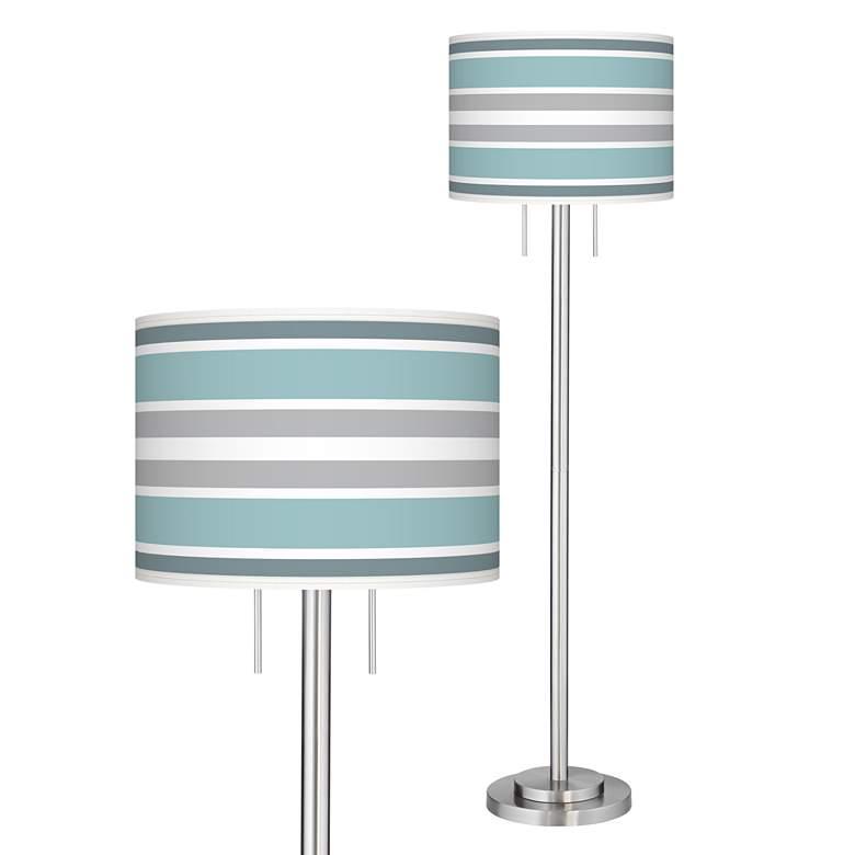 Multi Color Stripes Giclee Nickel Garth Floor Lamp