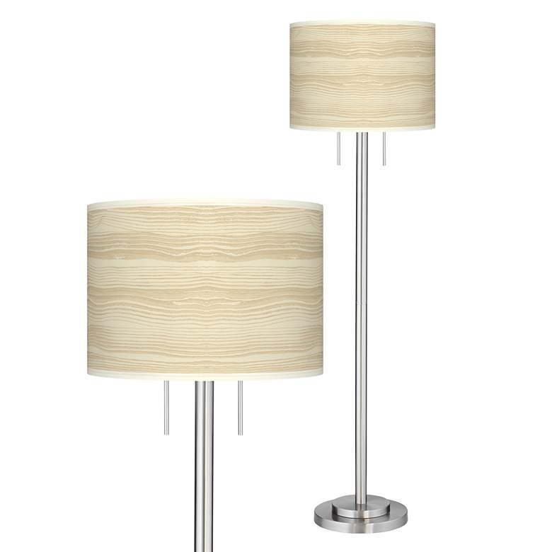 Birch Blonde Giclee Brushed Nickel Garth Floor Lamp