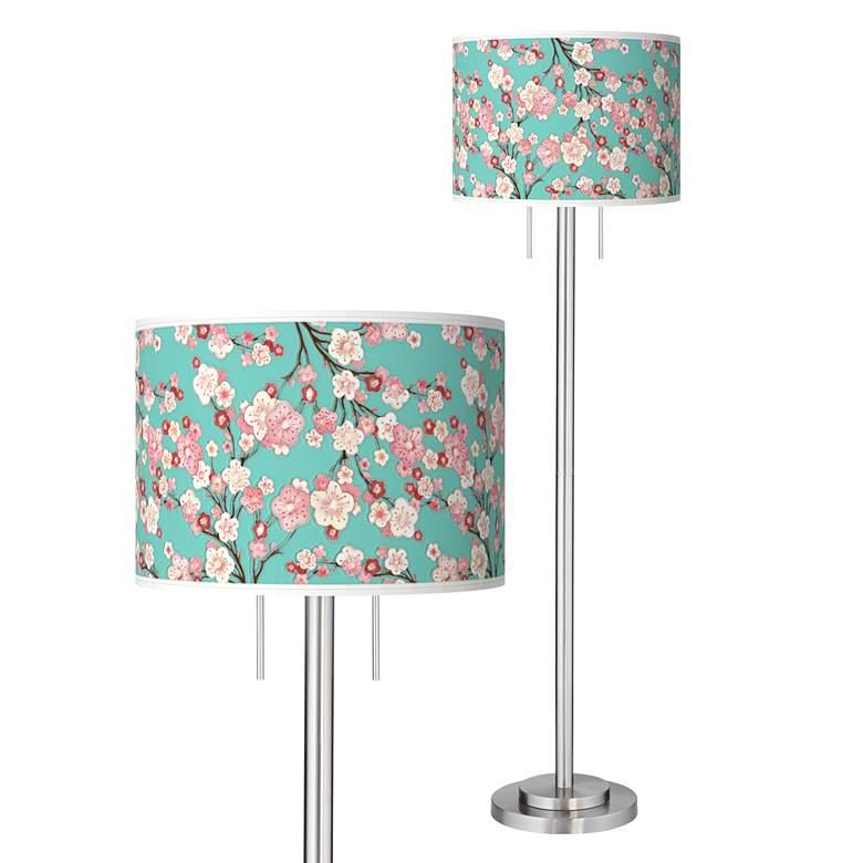 Cherry Blossoms Giclee Brushed Nickel Garth Floor Lamp