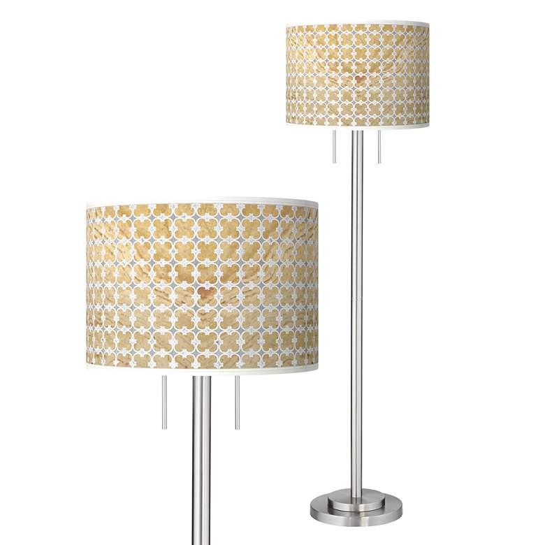 Marble Quatrefoil Giclee Brushed Nickel Garth Floor Lamp