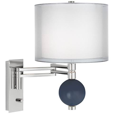 Naval Double Sheer Silver Shade Niko Swing Arm Wall Lamp