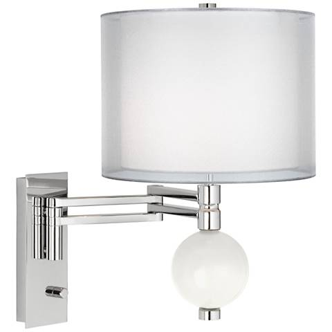 Winter White Sheer Double Shade Niko Swing Arm Wall Lamp
