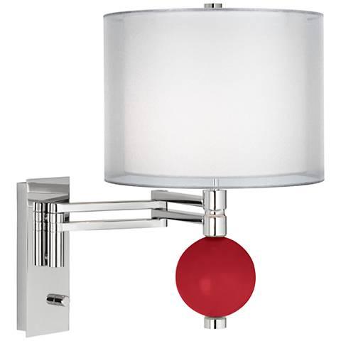 Ribbon Red Sheer Double Shade Niko Swing Arm Wall Lamp