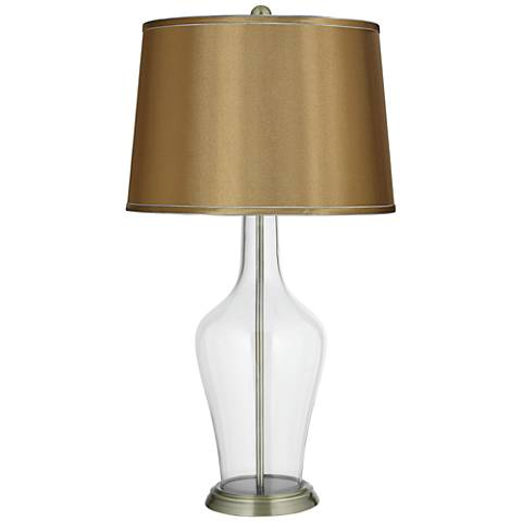 Satin Gold Shade Clear Fillable Anya Table Lamp
