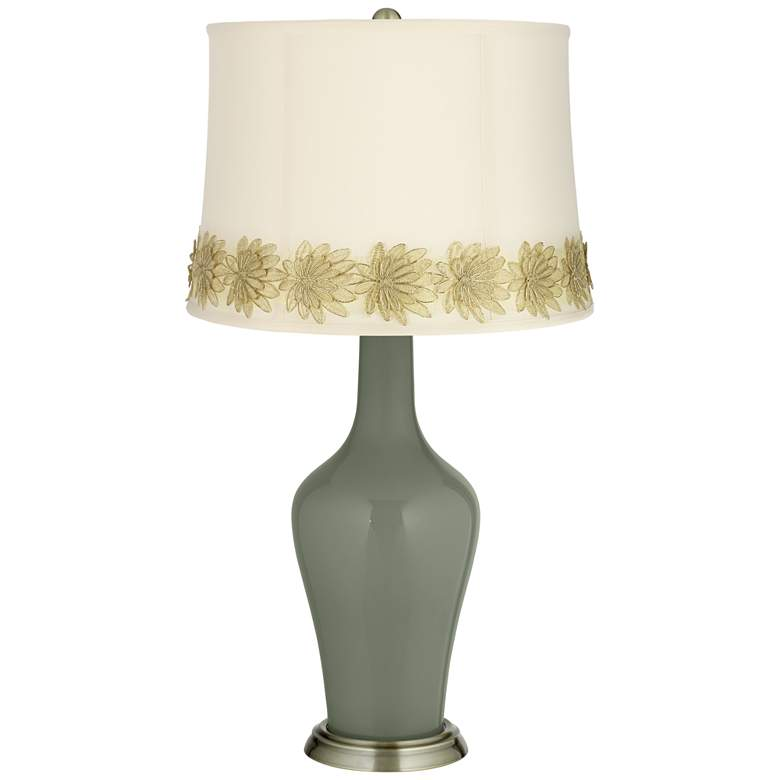 Deep Lichen Green Anya Table Lamp with Flower Applique Trim