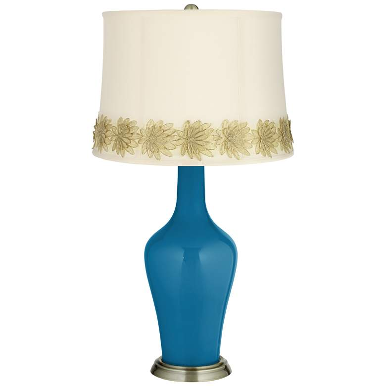 Mykonos Blue Anya Table Lamp with Flower Applique Trim