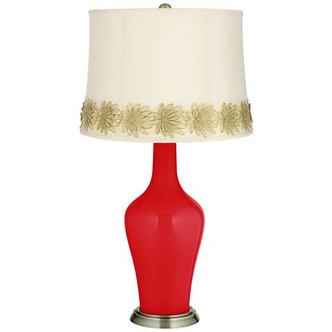 Bright Red Anya Table Lamp with Flower Applique Trim
