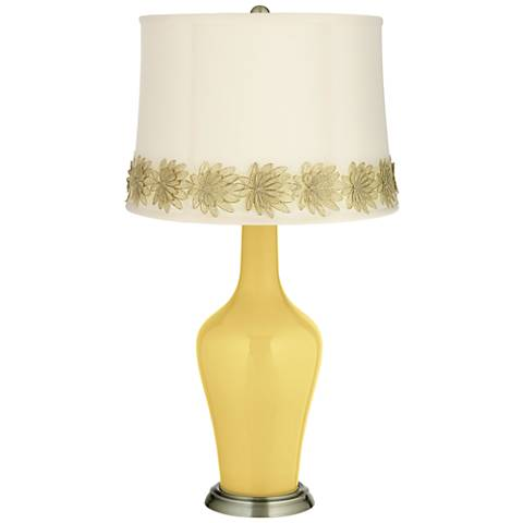 Daffodil Anya Table Lamp with Flower Applique Trim