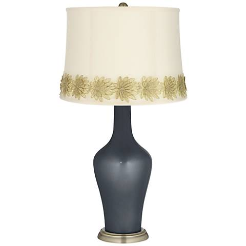 Gunmetal Metallic Anya Table Lamp with Flower Applique Trim