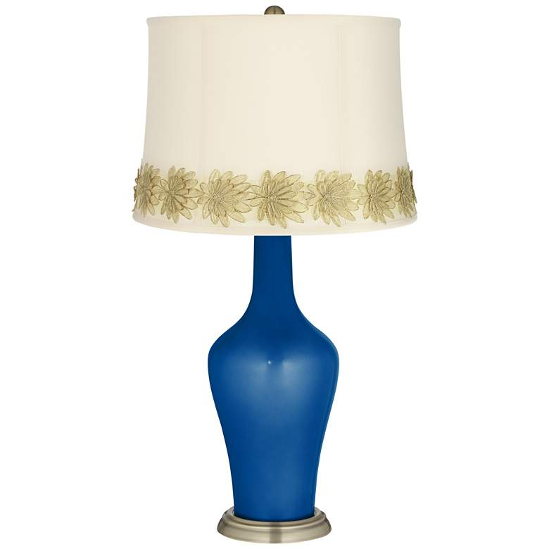 Ocean Metallic Anya Table Lamp with Flower Applique Trim