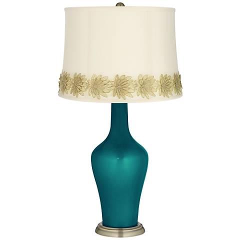 Magic Blue Metallic Anya Table Lamp with Flower Applique Trim