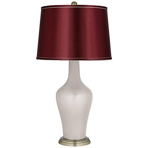 Silver Lining Metallic Satin Merlot Shade Anya Table Lamp