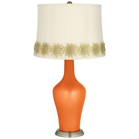Burnt Orange Metallic Anya Table Lamp with Flower Applique Trim